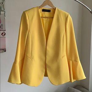 Zara open front flutter sleeves blazer jacket XS